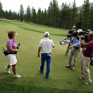 John Augenstein is swarmed by the Golf Channel after defeating Sam Horsfield, during the quarterfinals at the 66th U. S. Junior Amateur Championship.