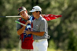 "Davis Riley and his caddie ""Binky"" at No. 12 during the finals of the 66th U. S. Junior Amateur Championship."