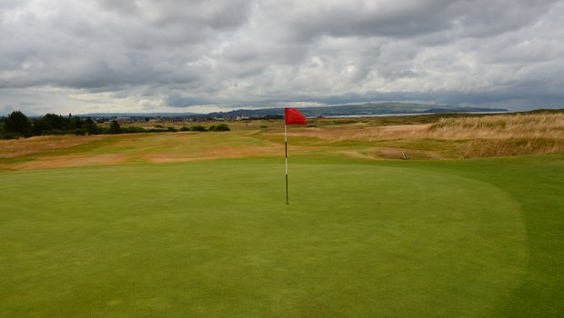Monkton Miln, the par-4 seventh hole at Prestwick, measures 484 yards from the back tees and has 10 bunkers to navigate.