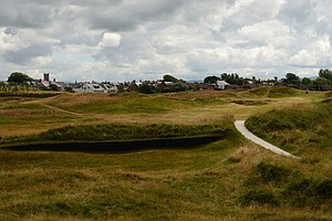The tee shot on the Alps hole; now the 17th at Prestwick, it was the second in Old Tom Morris' times.
