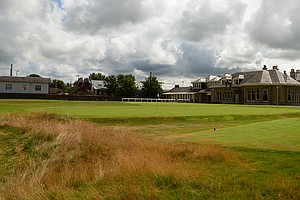 A view of the Prestwick clubhouse, looking back at the 15th tee.