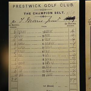 Young Tom Morris' scorecard from the 1868 Open Championship at Prestwick.  Note on the eighth hole he had an ace – the first in Open history.