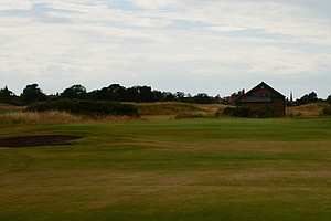 The green complex at Royal Lytham's 11th hole.  The shed at the back of the green used to be the superintendent's home until they built a new facility.