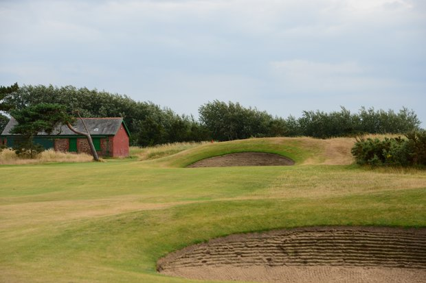 A short par 4, Royal Lytham's 13th is a little tricky, but one you can capitalize on. Again the superintendent's shed is to the left.