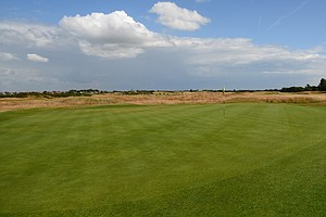 This is Royal Lytham's first hole, a medium-length par 3.  As you can see the day was perfect.