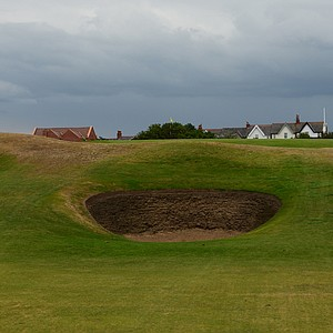 The uphill 8th hole at Royal Lytham is not long, but require percision or some incredible luck.