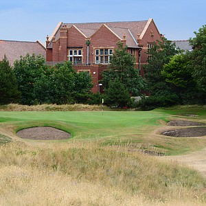 The par-3 9th hole at the back of the Royal Lytham property is also well bunkered and requires precision.