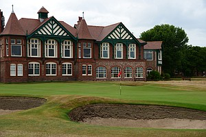 The 18th hole at Royal Lytham with the clubhouse in the background.