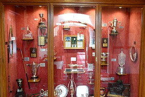 The impressive Royal Lytham clubhouse holds trophy cases and other golf memorabilia.
