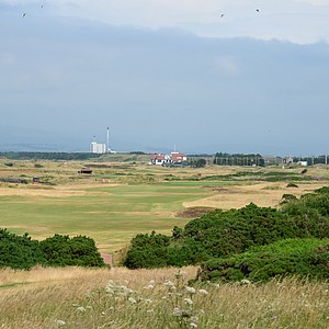 A view from the back tee of the par-5 Whins hole, Western Gailes' 14th – which finally turns back towards home.