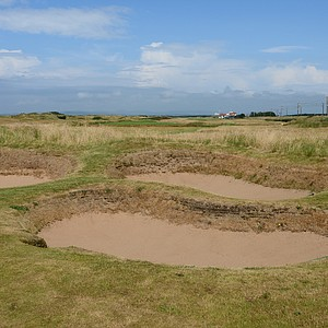 The fairway-bunker complex on Western Gailes' 16th hole, Camp.  At 428 yards from the back tee, it can get tricky getting around this group of bunkers.