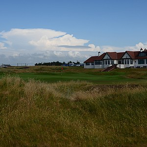 The Home hole, the short 18th is very picturesque with the clubhouse to the right.