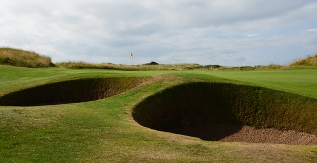 Here is a better look of the bunkers on the fifth hole at Western Gailes.