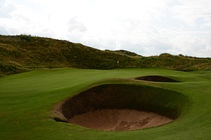 From this view you can see two of the six bunkers that swallow up bad and good shots at Western Gailes' seventh hole.