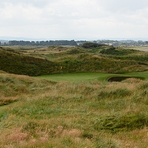 The par-3 seventh hole at Western Gailes called Sea is devilish.  From this view, one bunker is visible.