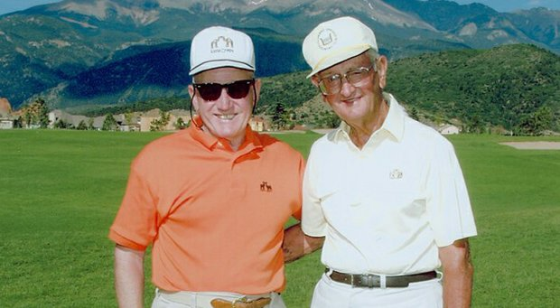 "Charles Towner with neighbor Howard ""Jake"" Kunstle in 2001."