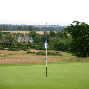The view of the Town of St. Andrews in the distance from the 18th green at Dukes.
