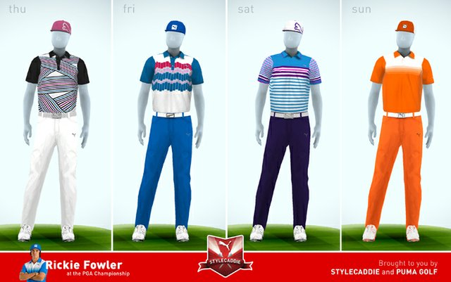 Rickie Fowler's scripted apparel for the 2013 PGA Championship.