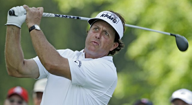 Phil Mickelson during the first round of the WGC-Bridgestone Invitational.