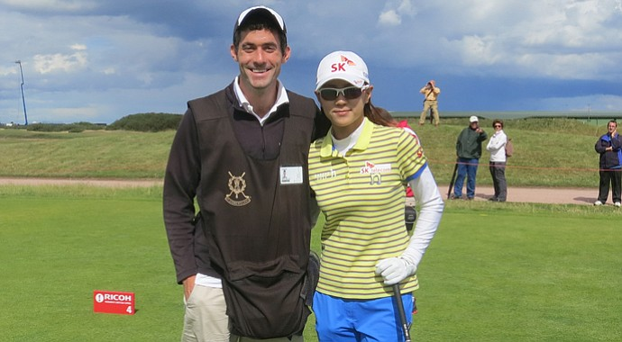 Oliver Horovitz and Na Yeon Choi during the pro-am for the Women's British Open.