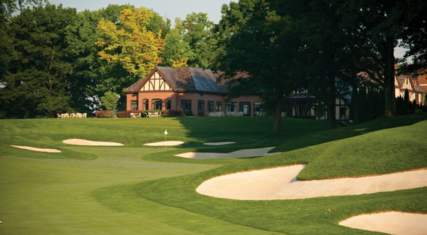 The 18th hole at Oak Hill East, site of the 2013 PGA Championship.