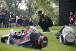 Tiger Woods during the first round of the 2013 WGC-Bridgestone Invitational at Firestone CC in Akron, Ohio.