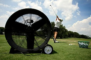 Christina Ocampo gets some practice in on the range prior to the 2013 U. S. Women's Amateur at Country Club of Charleston.
