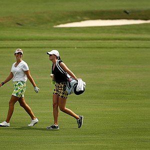 Ashlan Ramsey walks down No. 18 during a practice round prior to the 2013 U. S. Women's Amateur at Country Club of Charleston.