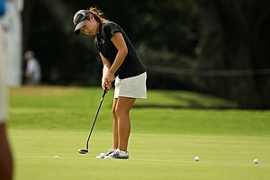 Kyung Kim putts at  No. 9 during a practice round prior to the 2013 U. S. Women's Amateur at Country Club of Charleston. Kim is part of the University of Southern California 2013 NCAA Championship team.