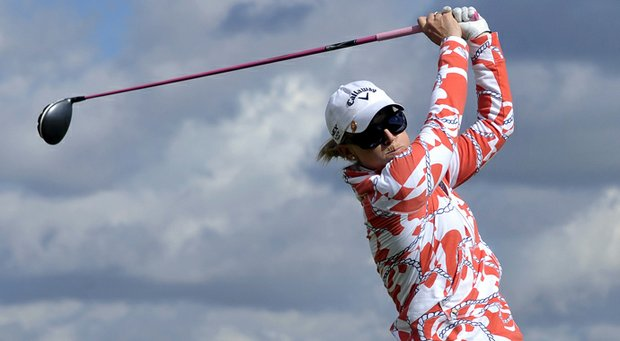 Morgan Pressel watches her tee shot from the 17th tee during the completion of the delayed third round of the Women's British Open at the Old Course in St Andrews.