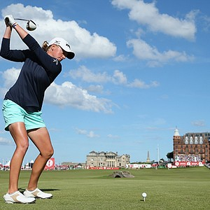 Stacy Lewis tees off on the 18th hole during the final round of the Ricoh Women's British Open at the Old Course in St Andrews.