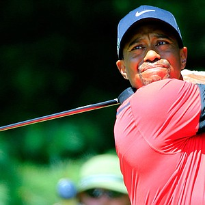 Tiger Woods hits off the second tee during the final round of the WGC-Bridgestone Invitational at Firestone Country Club.