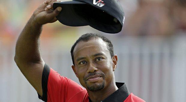 Tiger Woods after his seven-shot win in the 2013 WGC-Bridgestone Invitational in Akron, Ohio.