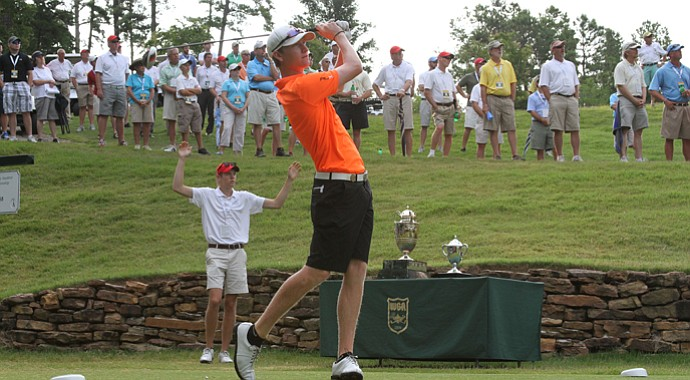 Jordan Niebrugge during his final match in the 2013 Western Amateur against Sean Dale.