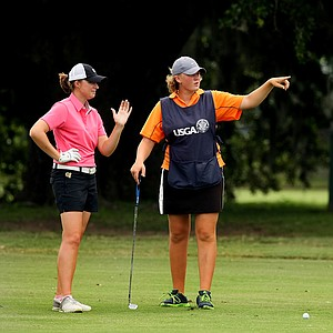 "Kiersten Klekner-Alt with her sister/caddie, Lili, ""Team KA"" during the first round of stroke play at the 2013 U. S. Women's Amateur at Country Club of Charleston."