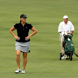 Meghan Stasi with her caddie/father, Mike Bolger at No. 9 during the first round of stroke play at the 2013 U. S. Women's Amateur at Country Club of Charleston.