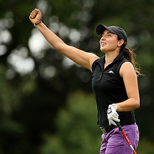 Emily Tubert celebrates having a drive on her last hole stay straight and in the center of the fairway during the first round of stroke play at the 2013 U. S. Women's Amateur at Country Club of Charleston. Tubert posted a even-par 71 in the first round of stroke play.