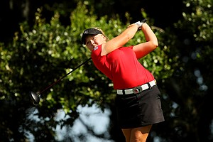 Brooke MacKenzie Henderson hits her tee shot at No. 12 during the first round of stroke play at the 2013 U. S. Women's Amateur at Country Club of Charleston.
