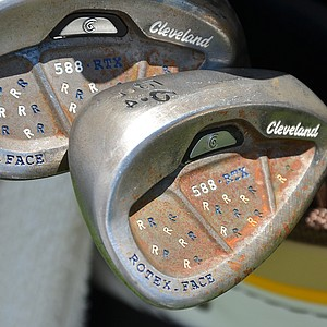 Richie Ramsay's Cleveland 588 RTX wedges have plenty of custom stamping – and rust because they are made of raw steel.