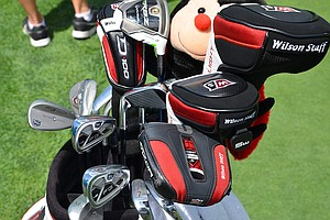 Padraig Harrington, winner of the 2008 PGA Championship at Oakland Hills, was testing a lot of hybrids and woods on Monday, but he appears happy with his Wilson Forged FG Tour V2 irons.