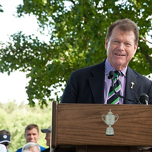 Tom Watson speaks to attendees during the Hall of Fame Induction for the 95th PGA Championship at Oak Hill Country Club.