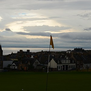 The second green and the town of Elie in the background.