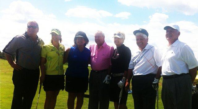 At the 2013 3M Championship's Greats of Golf, from left: Fuzzy Zoeller, Annika Sorenstam, Nancy Lopez, Arnold Palmer, Pat Bradley, Lee Trevino and David Graham.