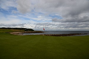 A view from the par-5 12th tee at Kingsbarnes in Scotland.