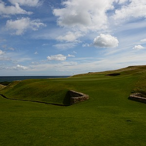The 18th green at Kingsbarnes in Scotland – with the bridge that was found during restoration of the original nine-hole course.