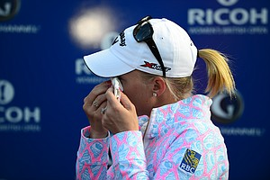 Morgan Pressel after finishing play at the 2013 Women's British Open at St. Andrews.
