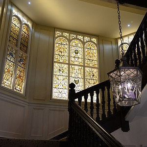 The only original parts of the Hamilton Grand interior, the staircase and stain glass windows.
