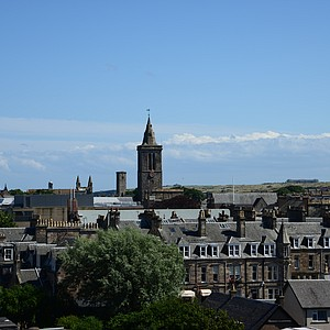 The view of the Town of St. Andrews from the deck on top of Hamilton Grand.