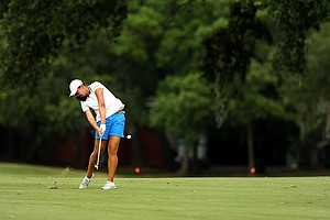 Allisen Corpuz hits a shot at No. 1 during the second round of stroke play at the 2013 U. S. Women's Amateur at Country Club of Charleston.