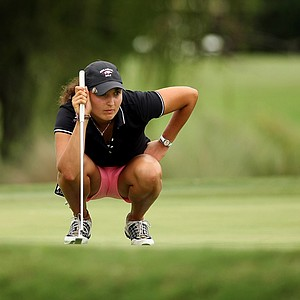 Emily Tubert lines up at putt at No. 17 during the second round of stroke play at the 2013 U. S. Women's Amateur at Country Club of Charleston.